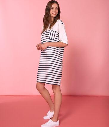 Vestido manga corta para mujer blanco Marshmallow / azul Smoking