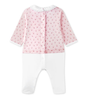 Pelele blusa bi-materia bebé niña rosa Vienne / blanco Multico