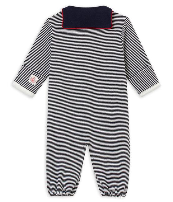 Saco para bebé niño en punto 1x1 con la milrayas azul Smoking / blanco Marshmallow