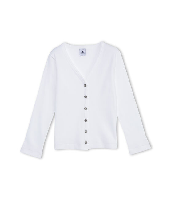 Girl's plain cardigan blanco Ecume