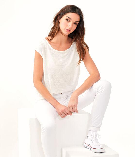 Camiseta de lino para mujer blanco Marshmallow