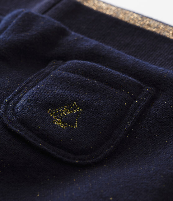 Pantalón en muletón brillante para bebé niña azul Smoking / amarillo Dore