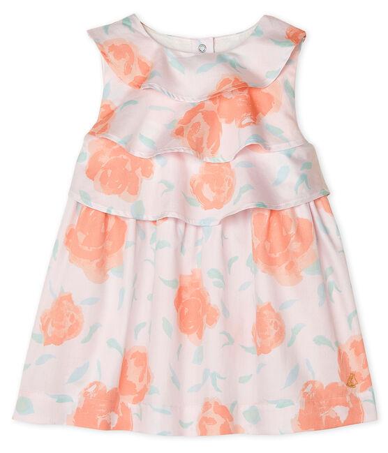 Vestido de satén estampado para bebé niña rosa Vienne / blanco Multico
