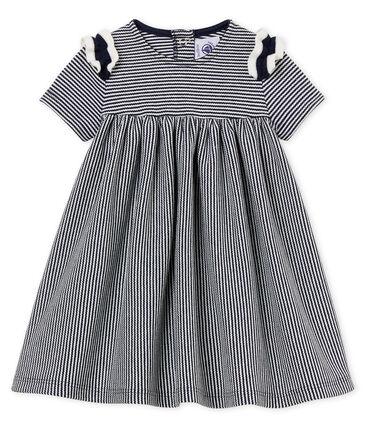 Vestido manga corta milrayas para bebé niña