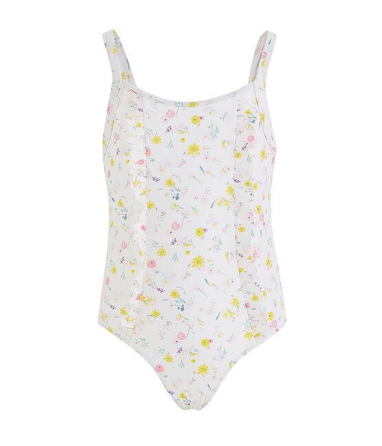 Traje de baño de 1 pieza ecorresponsable para niña blanco Marshmallow / blanco Multico