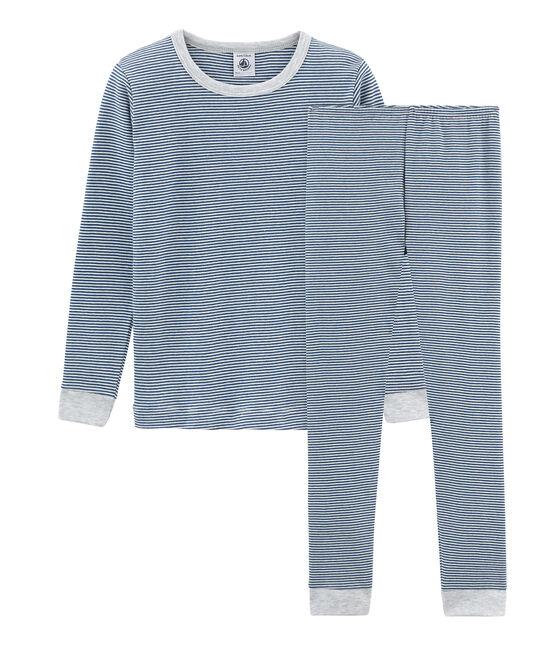 Pijama de corte muy ajustado de punto para niño azul Major / blanco Marshmallow