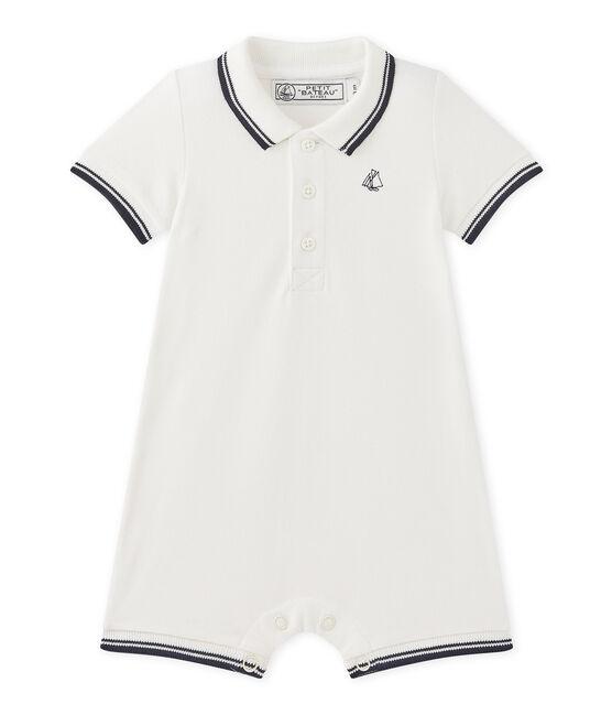 Pelele corto para bebé niño en jersey piqué blanco Marshmallow