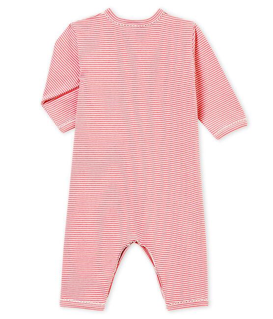 Pelele sin pies y babero para bebé niña rosa Cheek / blanco Marshmallow
