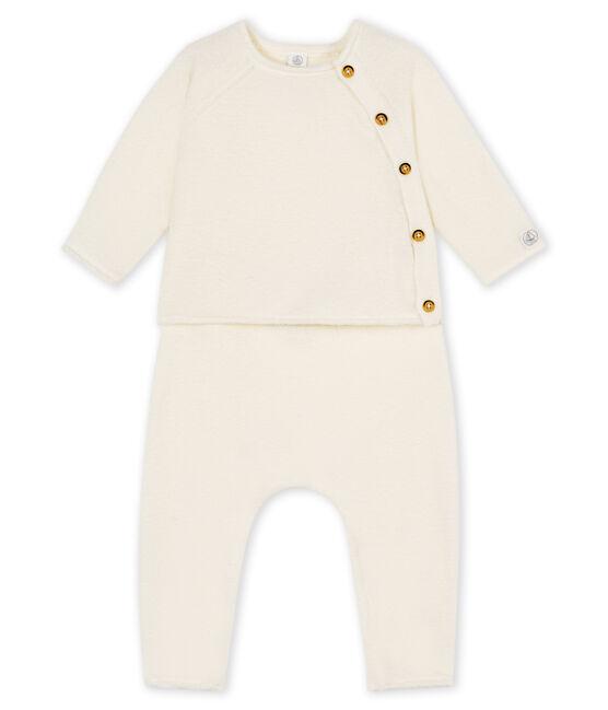 Conjunto de dos piezas para bebé niño, lana merinos y poliéster blanco Marshmallow