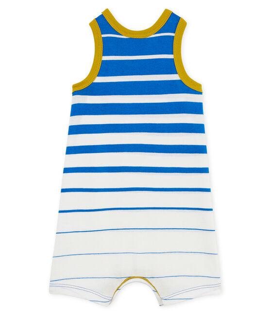 Mono corto de punto ligero con rayas decorativas para bebé niño azul Riyadh / blanco Marshmallow Cn