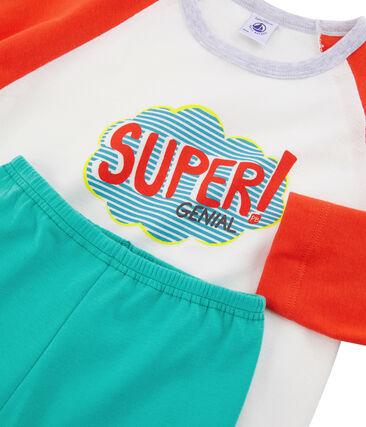 Pijama de punto para niño verde Esperanza / blanco Multico