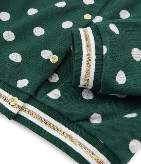 Cárdigan estampado para niña verde Sousbois / blanco Marshmallow
