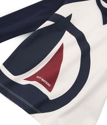Camiseta de manga larga para niño blanco Marshmallow / azul Smoking