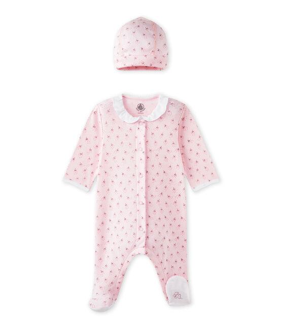 Pijama y gorrito de nacimiento bebé niña rosa Vienne / blanco Multico