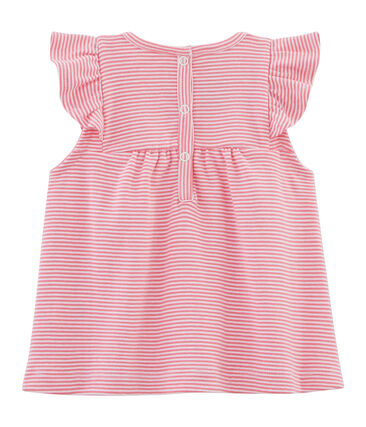 Blusa de rayas para bebé niña rosa Joue / blanco Ecume