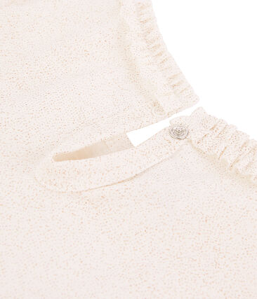 Camiseta de manga larga para niña blanco Marshmallow / rosa Copper