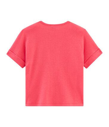 Camiseta manga corta infantil para niña rosa Groseiller