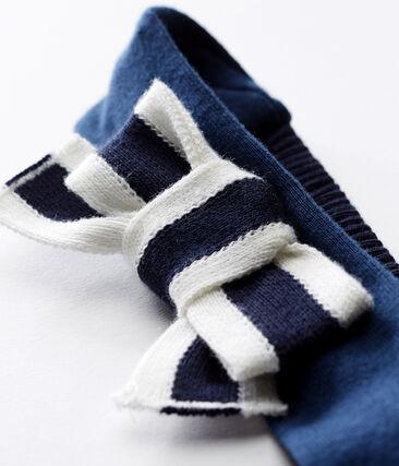 Turbante para bebé niña azul Smoking / blanco Marshmallow