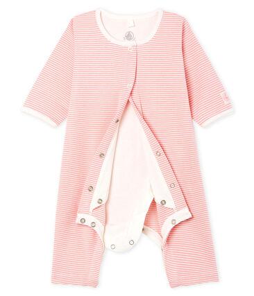 Bodyjama sin pies para bebé niña de punto rosa Charme / blanco Marshmallow