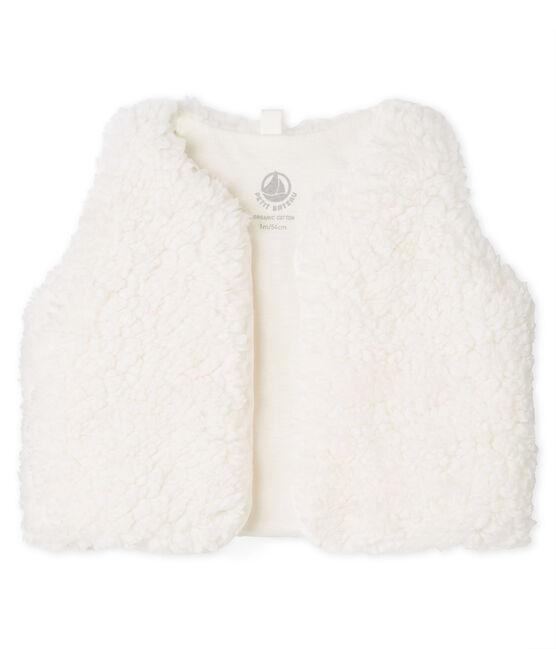 Chaleco de bebé niña de borreguillo blanco Marshmallow
