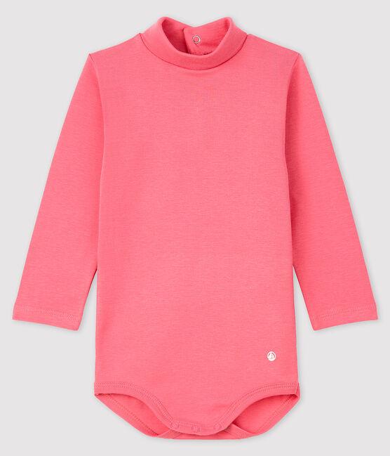 Bodi de manga larga con cuello de tortuga para bebé rosa Cheek