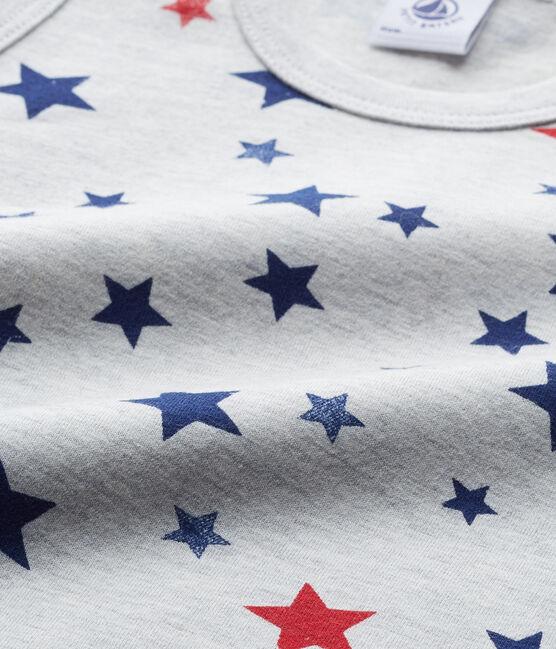 Camiseta sin mangas en jersey stretch estampado gris Beluga / blanco Multico