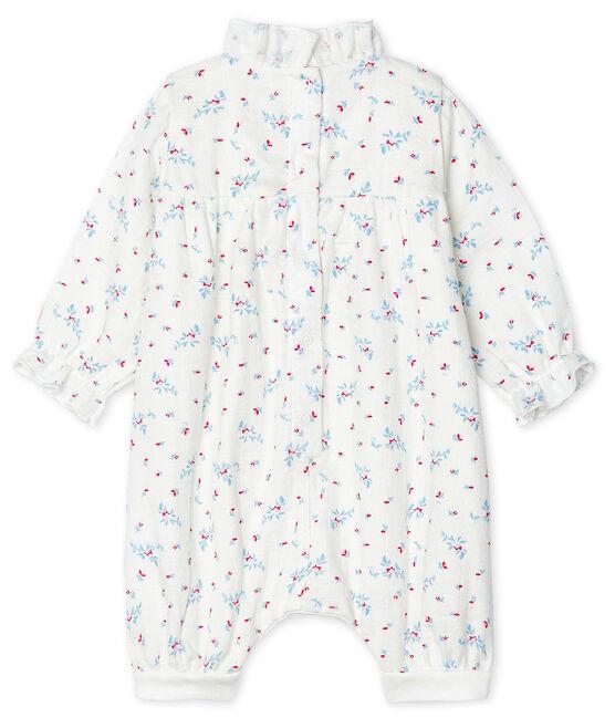 Mono para bebé niña de tejido de pañal blanco Marshmallow / blanco Multico