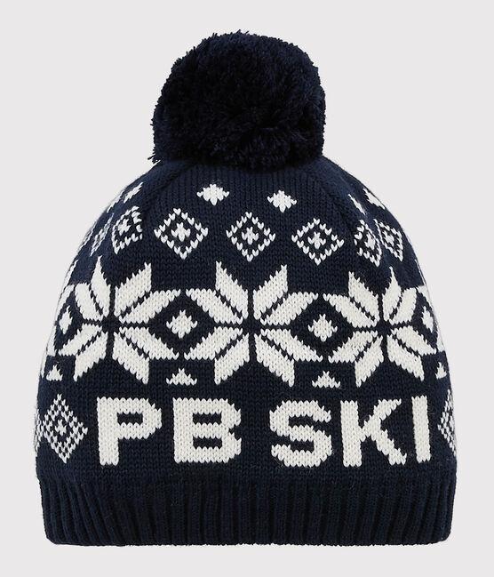 Gorro de esquí para niña/niño azul Smoking / blanco Marshmallow