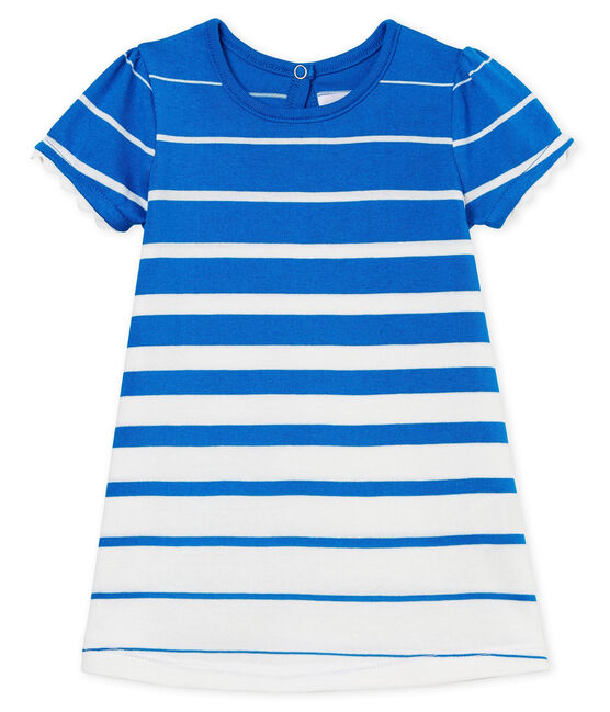 Vestido manga corta de rayas para bebé niña azul Riyadh / blanco Marshmallow Cn