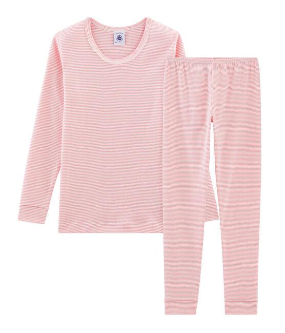 Pijama de corte muy ajustado de punto para niña rosa Charme / blanco Marshmallow