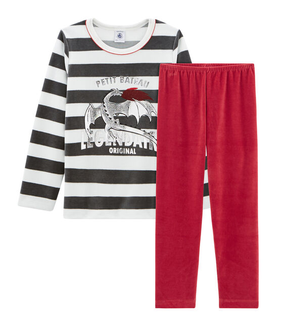 Pijama de terciopelo para niño pequeño rojo Terkuit / blanco Multico