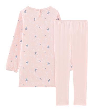 Camisón de manga larga para niña de felpa rosa Minois / blanco Multico