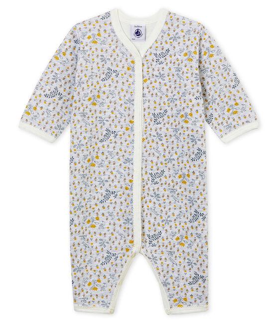 Pijama de bebé sin pies en punto suave para niña gris Poussiere / blanco Multico