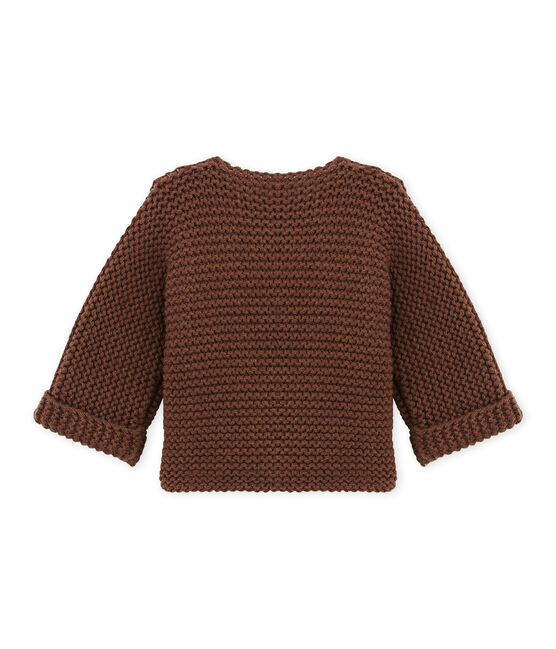 Cardigan de lana y algodón unisex marrón Brown