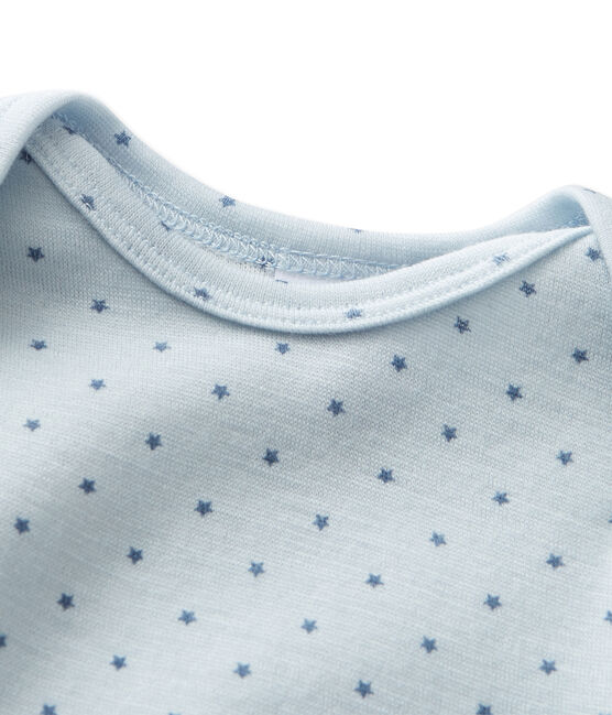 Mono corto de lana y algodón para bebé niño azul Fraicheur / gris Tempete
