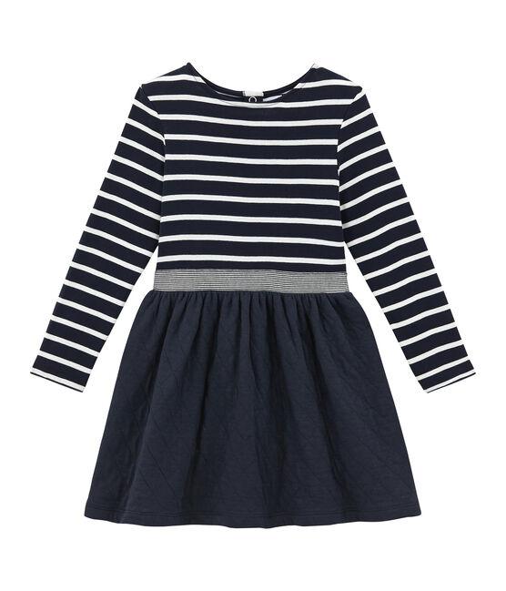 Vestidobi-materiapara niña azul Smoking / blanco Marshmallow