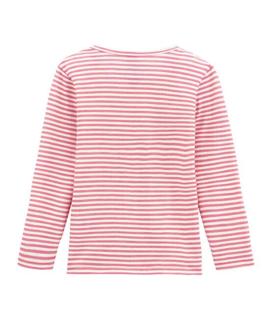 Camiseta de manga larga en lana y algodón rosa Cheek / blanco Marshmallow