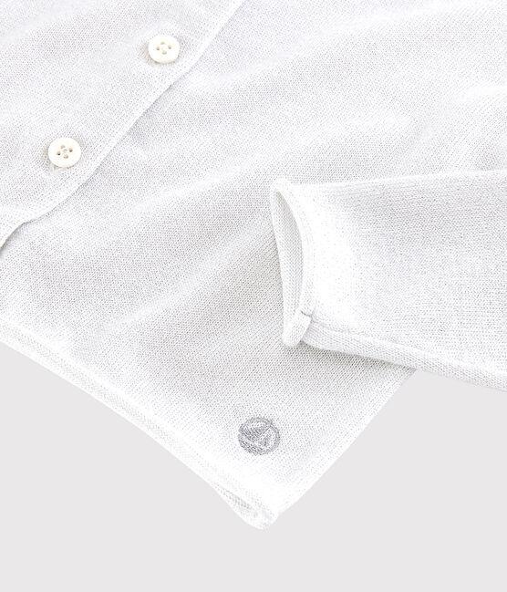 Cárdigan de algodón para niña blanco Marshmallow / gris Argent