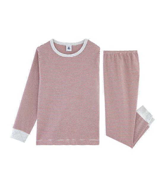Pijama de punto para niño rojo Carmin / blanco Marshmallow