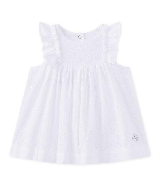 Vestido para bebé niña con bordado inglés blanco Ecume