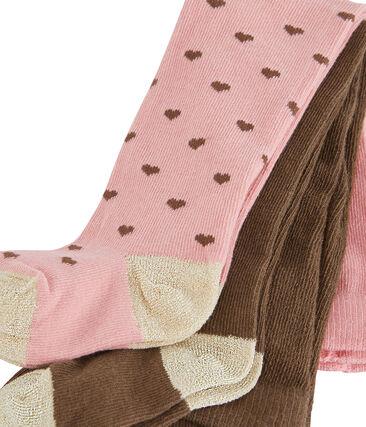 Lote de 2 pares de pantis para bebé niña rosa Charme / blanco Multico