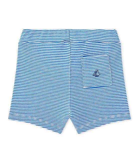 Short bebé niño a rayas azul Perse / blanco Marshmallow