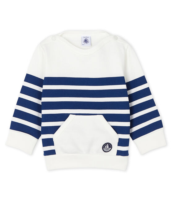 Sudadera para bebé niño de rayas blanco Marshmallow / azul Medieval