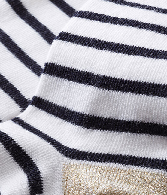 Leotardos icónicos para bebé niña blanco Marshmallow / azul Smoking