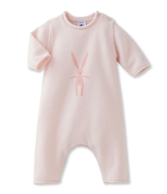 Unisex baby long all-in-one in wool and cotton knit with rabbit print rosa Fleur