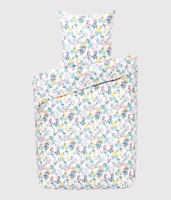 Juego de cama con estampado de jungla de popelina blanco Marshmallow / blanco Multico