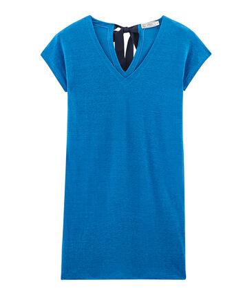 Vestido manga corta de lino para mujer azul Riyadh
