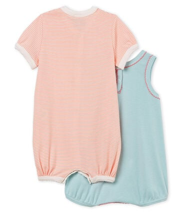 Par de monos cortos de punto para bebé niña