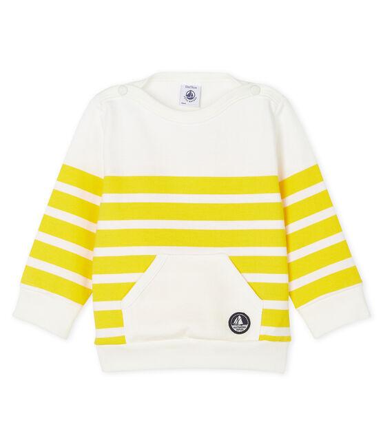 Sudadera para bebé niño de rayas blanco Marshmallow / amarillo Shine