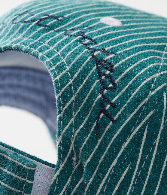 Gorra de rayas para bebé niño verde Olivier / blanco Marshmallow